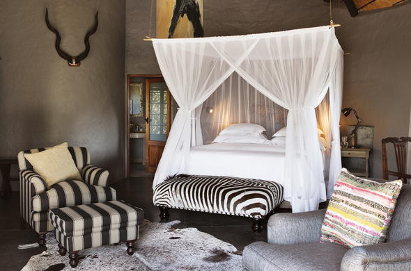 Luxurious bedroom at Motswari Game Lodge.